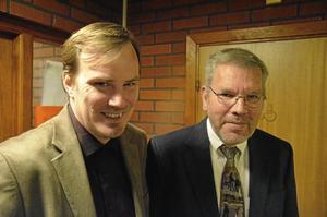 Nöjda med kvällen. Tomas Larsson och Lasse Skogsén.
