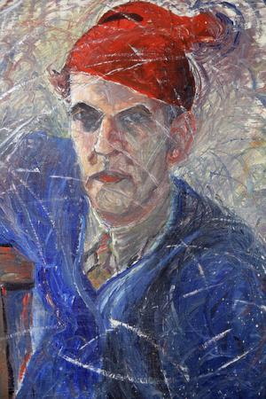 Alice pappa Bernhard Bergström målade. Det här är ett av hans självporträtt, som hänger i lägenheten i Edsbyn,