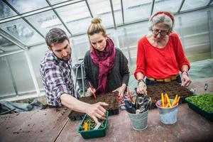 Daniel Björklund Jonsson, verksamhetsledare på Skillebyholm, håller kurs i hur man förkultiverar växter och blommor, i detta fall lejongap, för Sandra Wigfors och Britt-Marie Olheim.