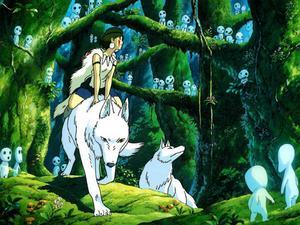 Prinsessan Mononoke. Lever med vargarna och har tagit parti för djuren.