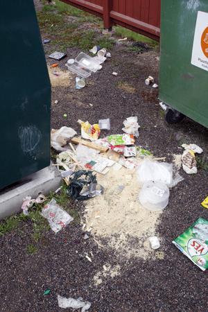 Det låg alla möjliga sorters skräp och förpackningar utslängda på marken.