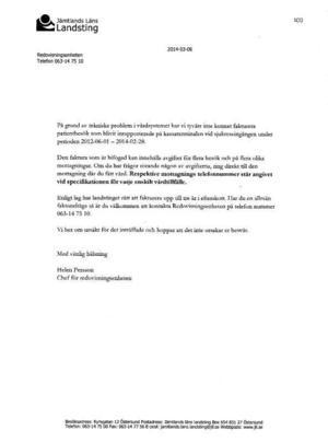 Brevet som skickades ut till patienterna.