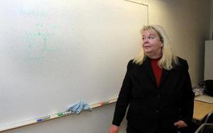 Marie Karlsson berättar för eleverna om nervceller.