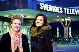 Här är tio procent av melodifestivalens redaktion. De heter Anna Rönngren och Marie Olofsson och båda kommer från Strömsunds kommun.