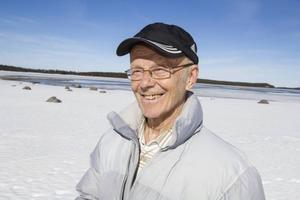 Det var i höjd med Fannbyn som Erland Sandquist hamnade i en isvak.