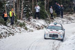 Joakim Roman in action under rallyt.