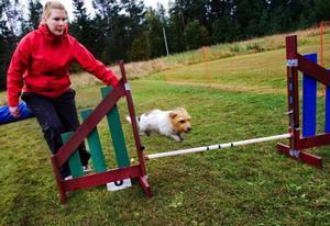 De som ville prova på kunde göra det på en bana intill tävlingarna. Erika Höggren med Ebba körde några varv.