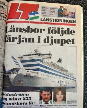 Förstasidan på Länstidningen 29 september 1994, dagen efter Estonias förlisning.