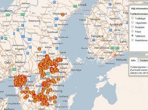 Så här såg Trafikverkets karta över tjälskadade vägar ut på måndagen den 27 mars.