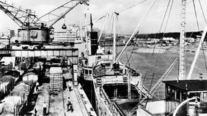 Liv och rörelse i hamnen anno 1950.