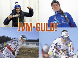 Jenny Solin, Ebba Andersson, Emma Ribom och Elina Rönnlund tog JVM-guld i den avslutande stafetten på fredagen.