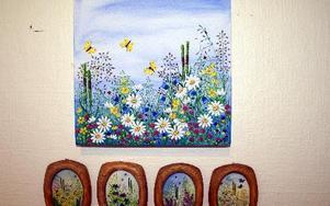 Inger Jacobsson senaste tavla tillsammans med några tidigare små verk.FOTO: HANS BLOOM