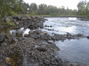 Här, vid Söräng, ser man skillnaden i vattennivån efter älven.