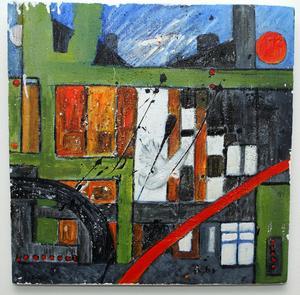Ett av Ulla Eklöfs verk, Paris är målat med akryl på frigolitunderlag.