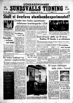 Sundsvalls Tidnings förstasida den 30 juni 1946.
