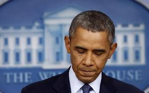 President Barack Obama håller tal om budgetkrisen. Foto: Charles Dharapak