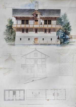 De vackra ritningarna på Tyrolervillan från 1859 är ännu välbevarade.