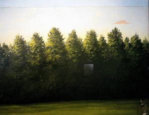 ...och Rolf Karbelius har målat in sig själv i ett skogslandskap
