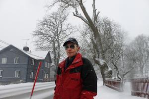 Karl-Erik Johansson är upprörd över att kommunen inte tagit bort det träd som står vid väg 77 i Finsta. Trädkronan hängde en gång över Karl-Eriks tomt till höger. Trädet lutar mer och mer för varje år.