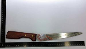 Kniven som misstänks ha använts vid attacken. Foto: Polisen