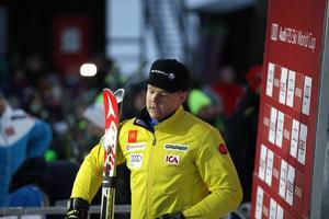 Mattias Hargin fick lämna över ledarplatsen till Marcel Hirscher.