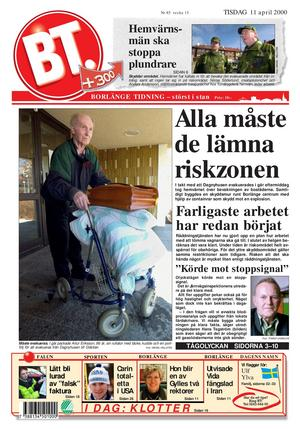 Borlänge Tidnings etta tisdagen den 11 april 2000, när evakueringen av de boende i närheten av olycksområdet hade inletts.
