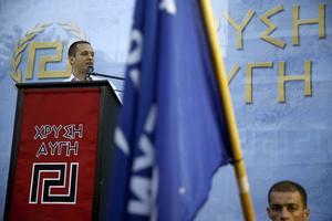 Ilias Kasidiaris nazistinspirerade parti Gyllene Gryning, fick 9 procent av rösterna i Grekland.