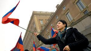 Demonstration i Stockholm för erkännande av folkmordet på armenier.