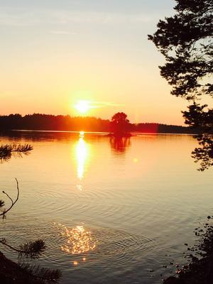 Många underbara kvällar blev det. Här med solnedgång från Andersön. Åsa Gustafsson