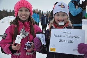 Alvina Millestu från Utrikes Skidklubb visar upp ett av priserna som delades ut under tävlingen. Alvina poserar tillsammans med stafettkompisen Stina Morin från samma klubb.