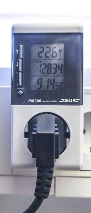 En portabel elmätare kan pluggas in mellan strömkällan och strömförbrukaren.