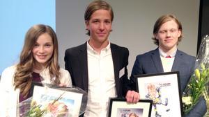 Stipendiater. Emma Stenlöf (Västerås Friidrott), Robin Andersson (Tillberga Bandy) och Douglas Alenbring (VIK J18) prisades av VIP 100.