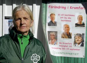 Birgitta Widerberg (C) tycker att det är ett stort problem att Centerpartiets valaffischer inte får hänga i fred.