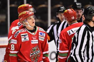 Modo Hockey - Brynäs, Fjällräven center Örnsköldsvik. 2/2-2016. 28, Axel Ottosson, efter en missad målchans.