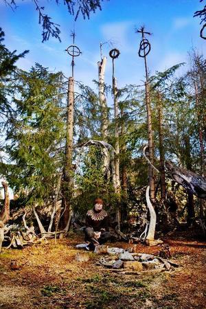 I Leo Brusewitz vackra skogsrum fångas alla drömmar och idéer upp i en stor drömfångare.