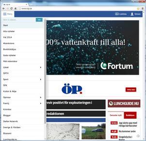 Menyn till vänster. Här hittar du alla våra nyheter samlade i avdelningar. Där finns bland annat Sverige&Världen, Blåljus och inte minst alla våra kommuner (under länet). Gå gärna in och kolla och klicka runt för att se vad vi har där.