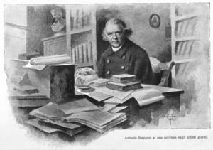 Egentligen var den italienske prästen och geologen Antonio Stoppani som först uppmärksammade människans stora inverkan på jordklotet. Bild av okänd konstnär från 1915.