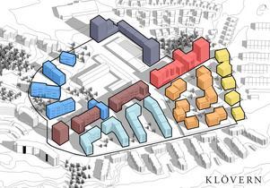 Etapperna i det blivande området. Snett ovanför de lila husen ligger Lidl. Längst ned till höger de befintliga husen vid Ankargatan.