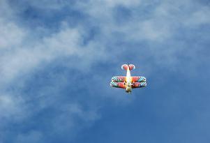 Färglada flygkonster. Piloten P-O Olsson trotsade g-krafterna i sitt Christen Eagle under lördagen.