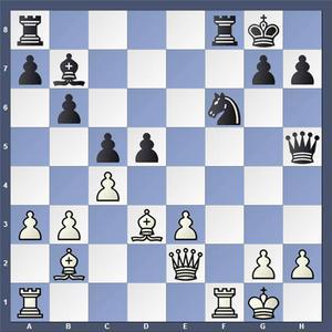 Vad spelade vit?   Lösning: 1.Txf6 Dxe2 2.Txf8+ Txf8 3.Lxe2
