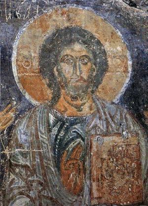Kristus Allhärskaren, detalj, 1100-talet.