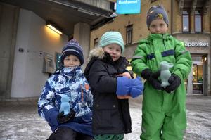 Nils, Olle och Teo Strandell vill sätta in sina pengar på banken så de kan spara till sånt de vill ha senare i livet.