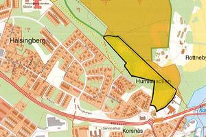 Villaområdet som är markerat på kartan skulle bli en förlängning av Humlebacken och Hälsingberg. I ansökan om planbesked som lämnades in för ett år sedan fanns tankar om ett 50-tal bostäder.