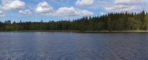 EON:s fotomontage av vyn vid sjön Lilla Skällingen i Stenshyttan.
