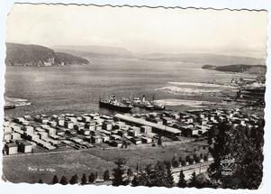 . Utanför den stora brädgården vid Bollstasågen fyller två oceangående fartyg lastrummen på ett vykort från början av 1950-talet. Bortom timmermagasinen i vattnet till höger i bild återfinns ytterligare en lastbåt intill kajen vid Dynäsfabriken. Ur Bo G Halls samlingar.