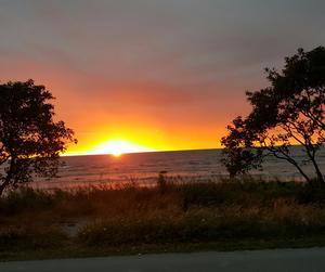Underbar solnedgång från husbilen i Visby.