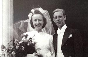 Ingrid och Rune Lindström som nyblivna äkta makar