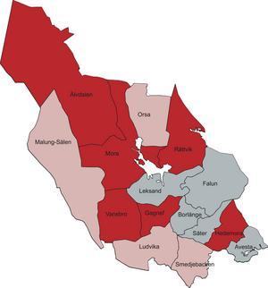 Röda kommuner = inga politiska initiativ – motioner, interpellationer och budgetar – så här långt under mandatperioden. Rosa kommuner = inga fullständiga budgetmotioner. Grå kommuner = Både budget och motioner/interpellationer.