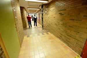 I den här korridoren stod vattnet djupt efter skyfallet som föll över Falun i slutet på augusti.