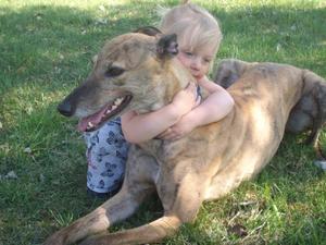 Min dotter Maja, 3 år, var ute och busade i solen och plötsligt gick hon fram till greyhounden Ina och gav henne en spontan kram. Jag tyckte det såg så gulligt ut och jag är glad att jag hade kameran i handen och hann föreviga ögonblicket.